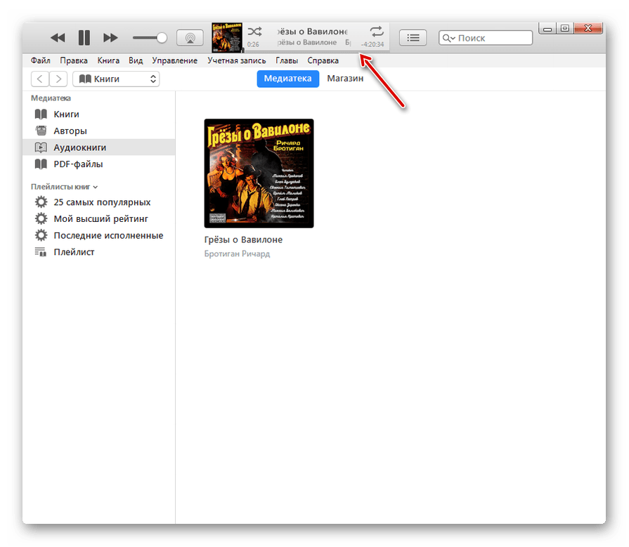 Воспроизведение аудиокниги M4B в программе iTunes