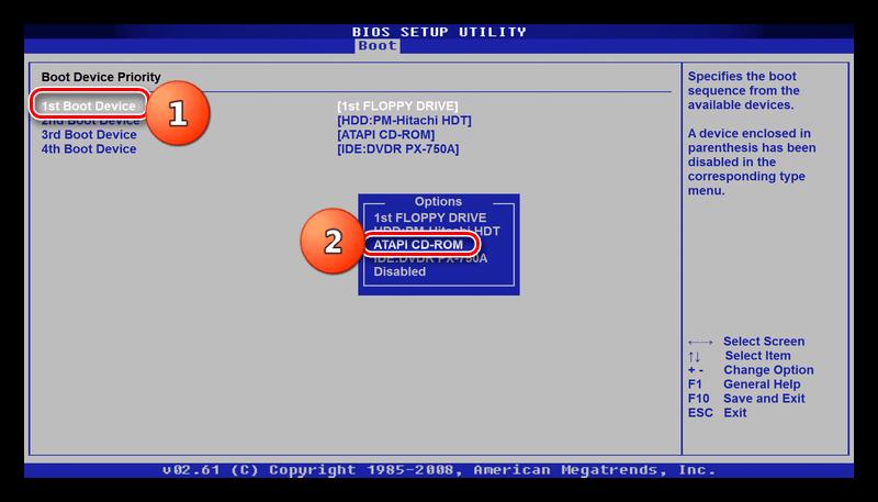 Выбор CD-ROM в списке загрузки БИОС