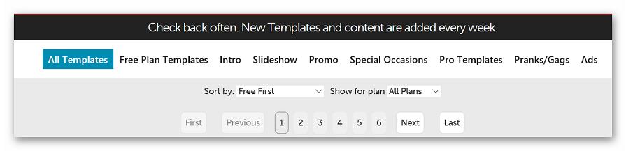 Выбор шаблонов на Flixpress