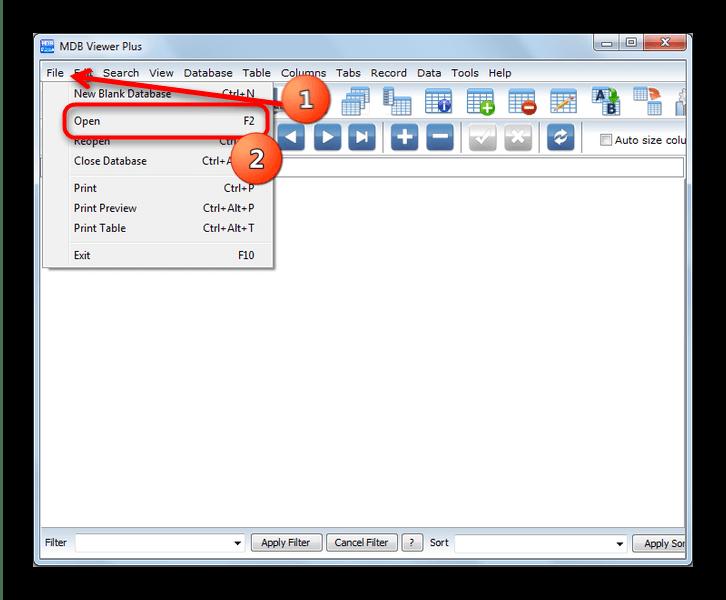 Выбрать Файл и Открыть в MDB Viewer Plus