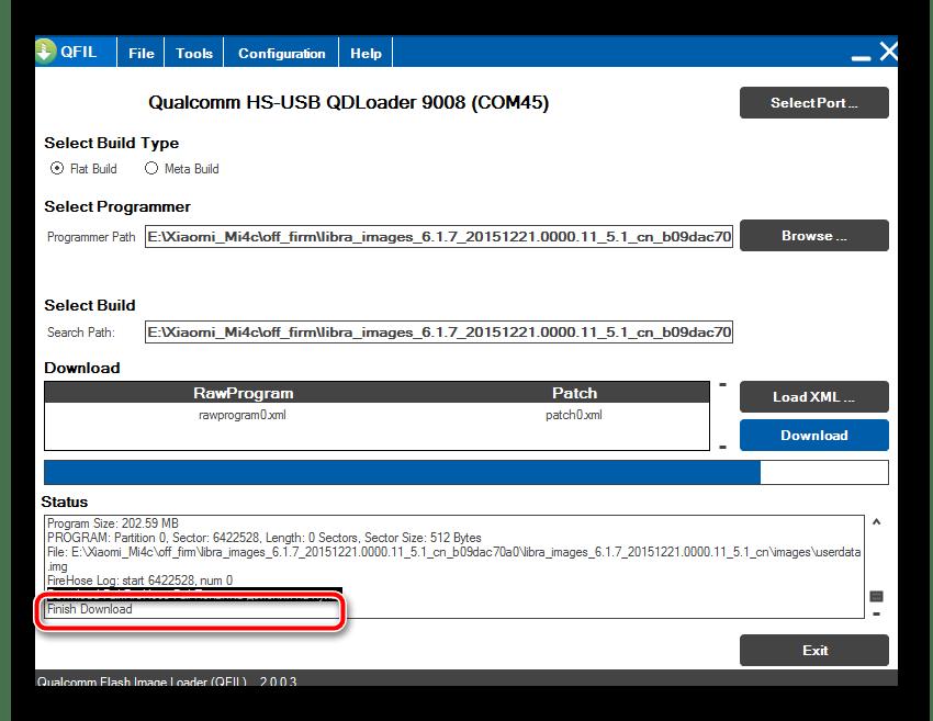 Xiaomi Mi4c раскирпичивание QFIL Load XML... прошивка завершена