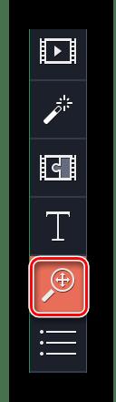 Заходим в раздел Масштаб и Панорама в Movavi Video Editor