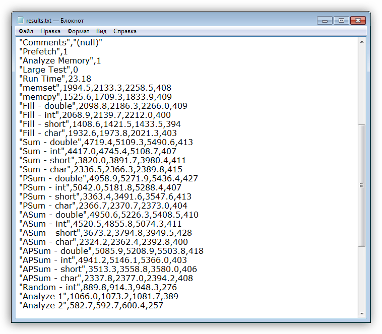 Запись истории тестирования в текстовый файл в программе MemTach