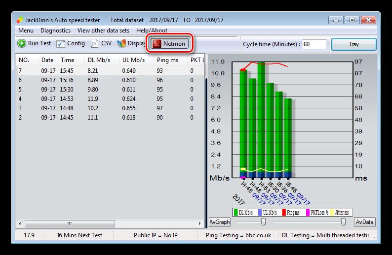 Запуск модуля измерения скорости интернета в реальном времени в программе JDAST