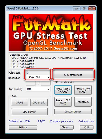 Запуск стрессового тестирования видеокарты в программе FurMark