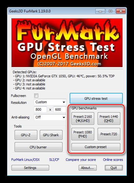Запуск тестирования производительности видеокарты в программе FurMark