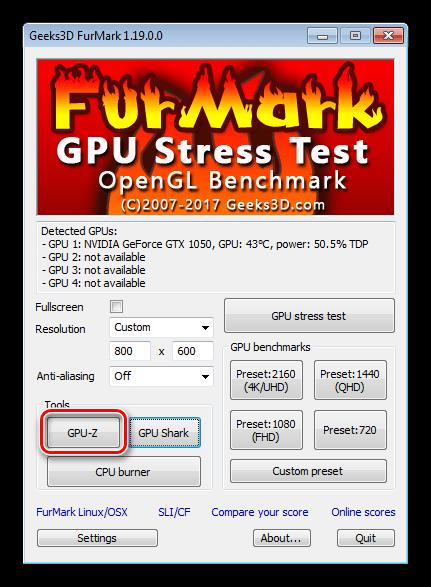 Запуск утилиты GPU-Z в программе FurMark