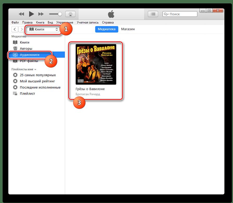 Запуск воспроизведения аудиокниги M4B в программе iTunes