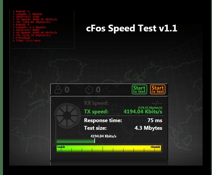 cFosSpeed Тест скорости Интернет-подключения