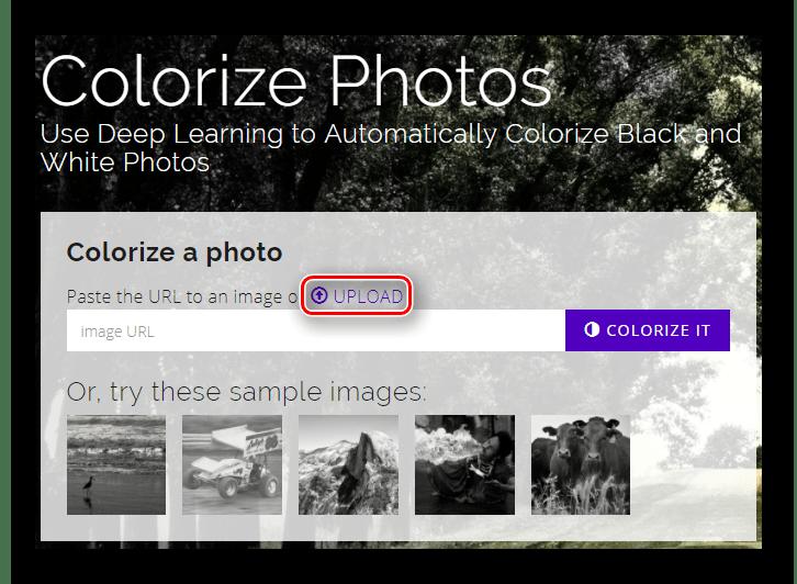 Кнопка для начала выбора файла для обработки на главной странице сайта Colorize Black