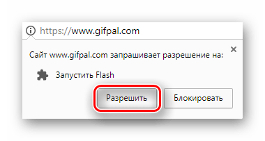 Кнопка для разрешения запуска Adobe Flash Player во всплывшем окне на сайте Gifpal