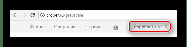 Добавленная на быструю панель инструментов функция перевода в черно-белое на сайте Croper