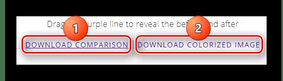 Кнопки сохранения на компьютер обработанного и исходных изображений на сервисе Colorize Black
