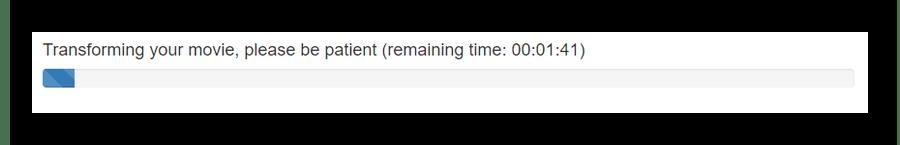 Строка с предварительным временем по окончании которого ролик будет готов на сайте Video Rotate