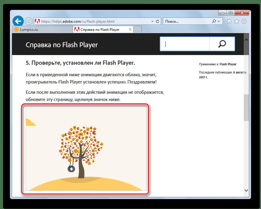 Adobe Flash Player в Internet Explorer браузер и плагин в порядке