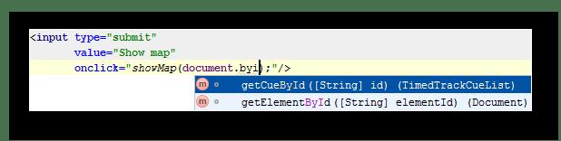 Автодополнение параметра в среде разработки WebStorm