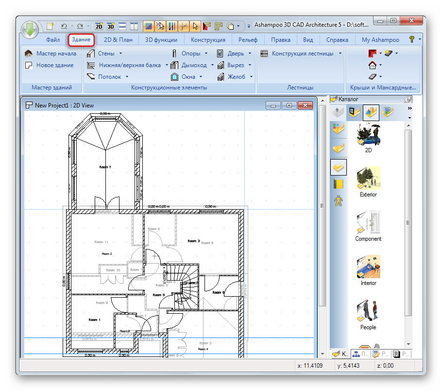 Более продвинутые инструменты редактирования чертежей в Ashampoo 3D CAD Architecture