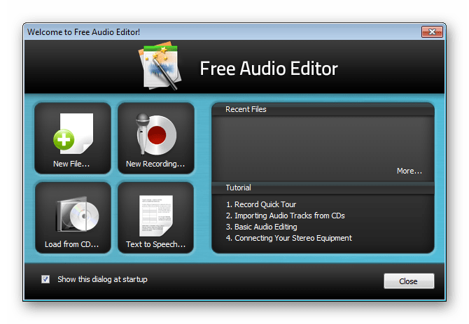 Быстрый старт Swifturn Free Audio Editor