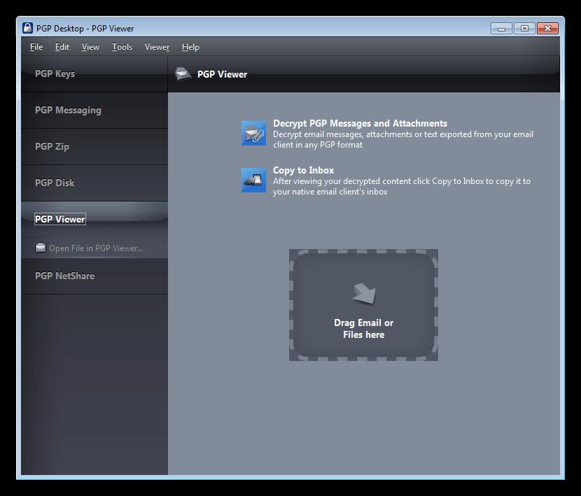 Читалка зашифрованных сообщений в программе PGP Desktop