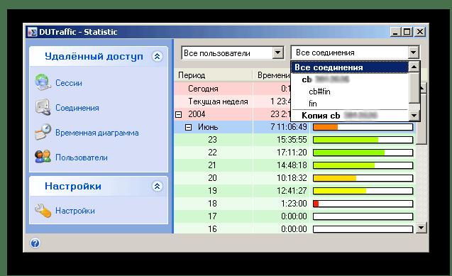 Диаграмма со значениями в приложении DUTraffic