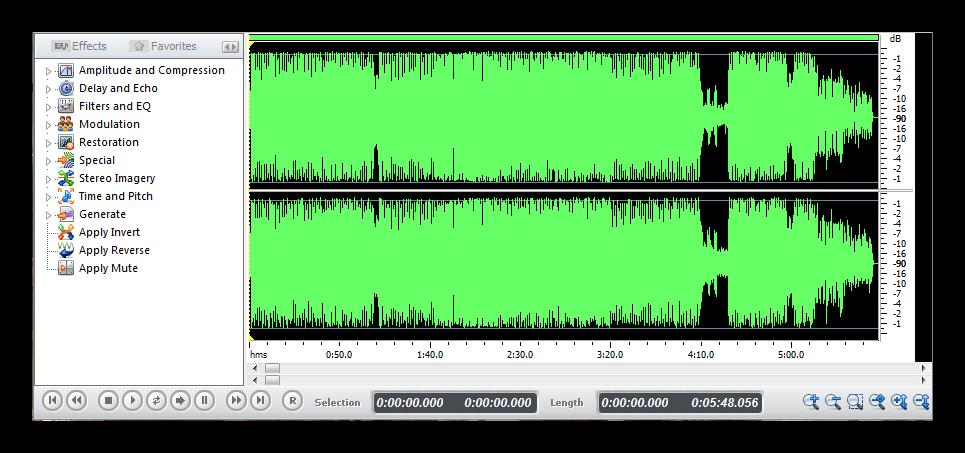 Добавление эффектов Swifturn Free Audio Editor