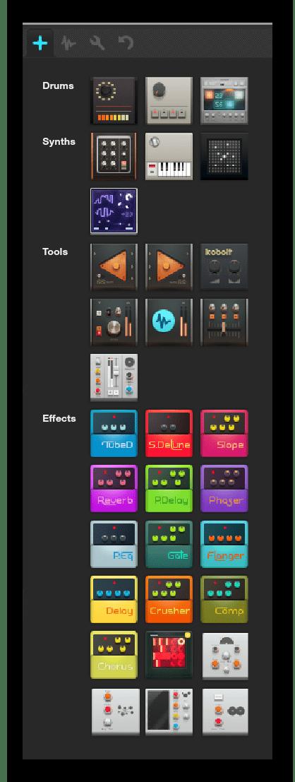 Добавление новых инструментов Audiotool