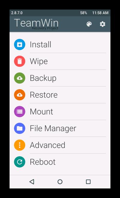 Explay Fresh Главный экран TeamWinRecovery (TWRP)
