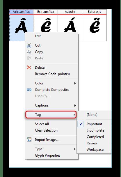 Функция нанесения меток на символ в FontCreator