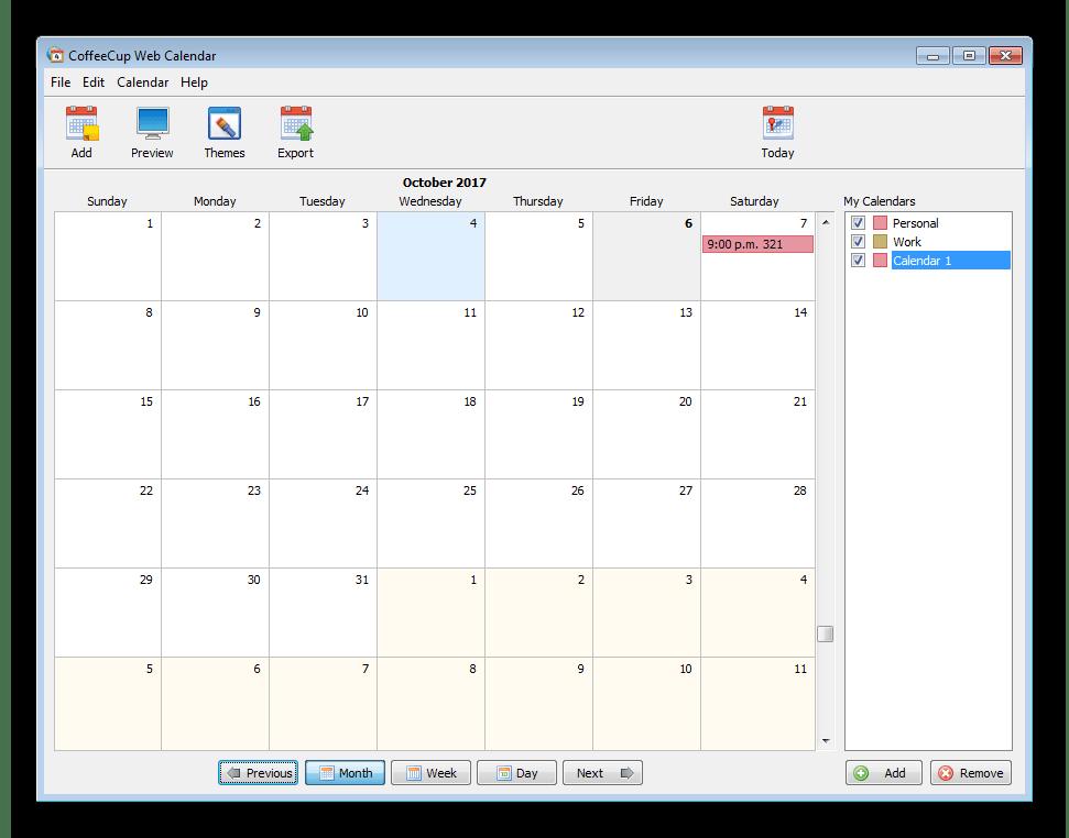 Главное окно CoffeeCup Web Calendar
