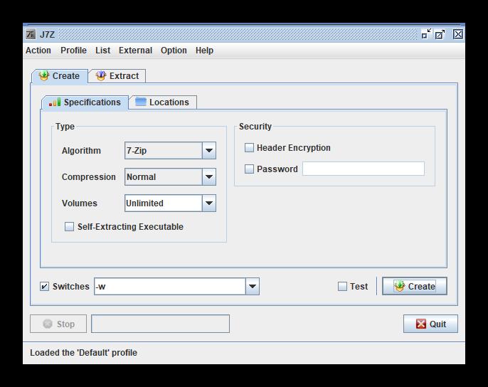 Главный экран J7Z в программах для сжатия файла