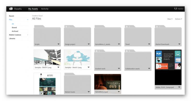 Графический интерфейс Adobe Creative Cloud