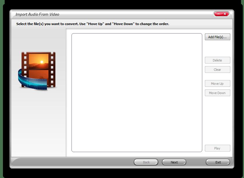Импорт аудио из видео Swifturn Free Audio Editor