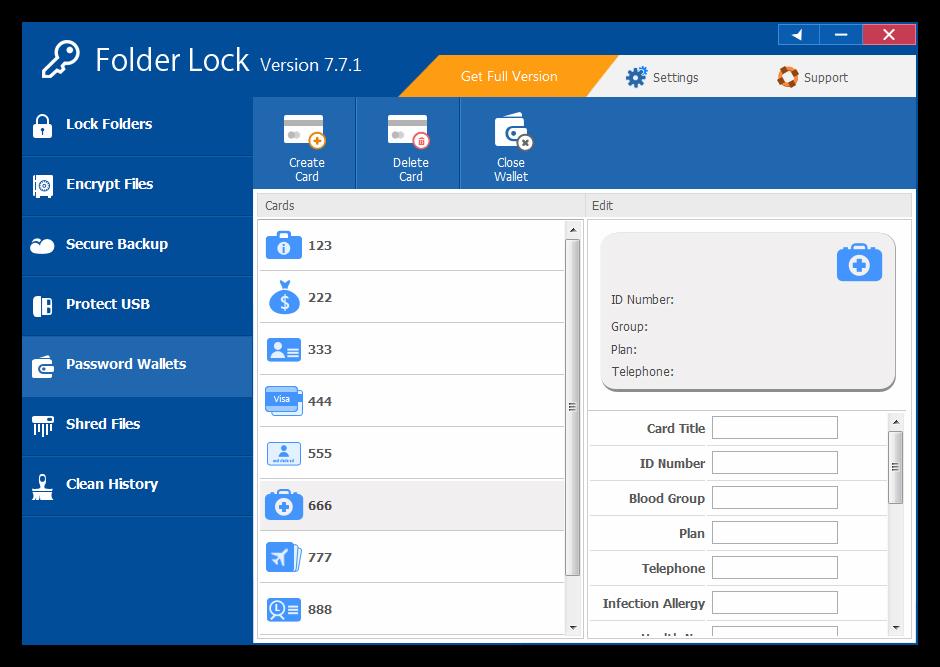 Информационные карточки в хранилище Folder Lock