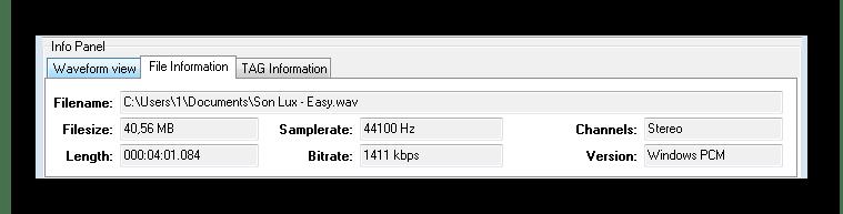 Информация о файле Direct WAV MP3 Splitter