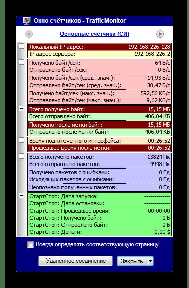 Информация о сетевом интерфейсе в программе TrafficMonitor