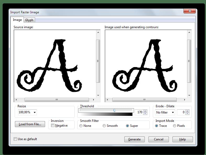 Инструмент для генерации символов на основе изображения в FontCreator