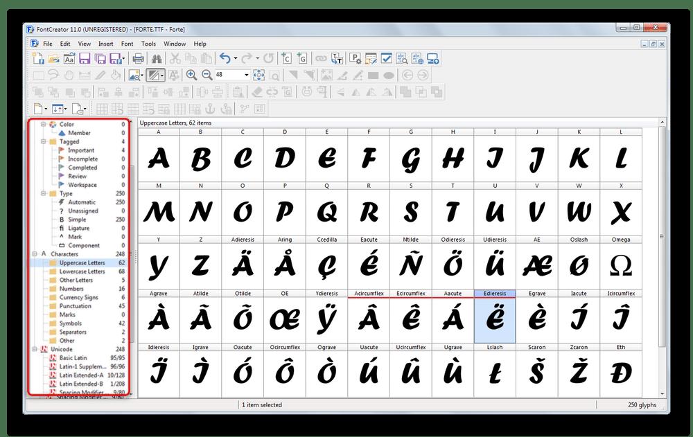 Инструмент для группирования символов по категориям в FontCreator