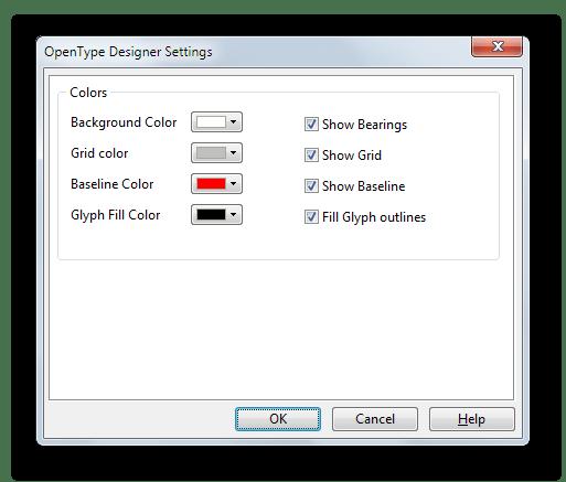 Инструмент для изменения цветовых характеристик символов в FontCreator