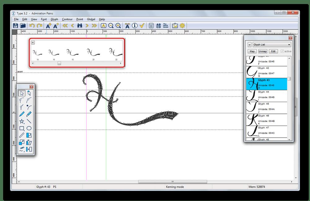 Инструмент для просмотра Glyph Preview в Type