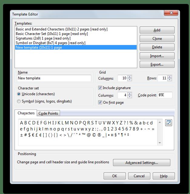 Инструмент для создания и настройки своего шаблона таблицы для создания шрифтов в Scanahand