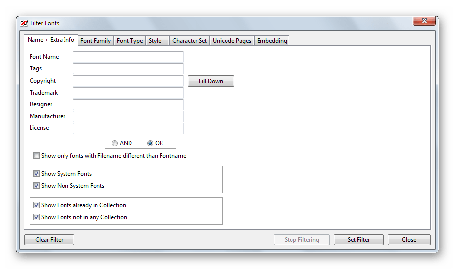Инструмент фильтрации шрифтов в списке в X-Fonter