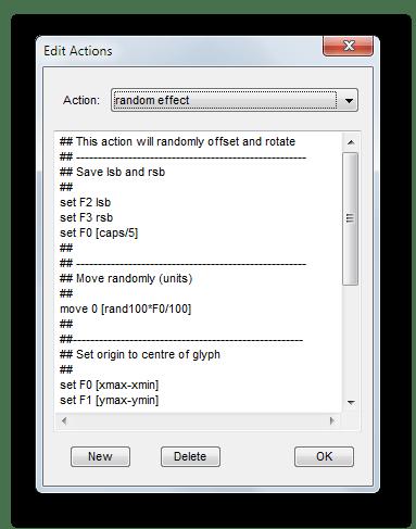 Инструмент изменения программируемых команд для редактирования символов в Type
