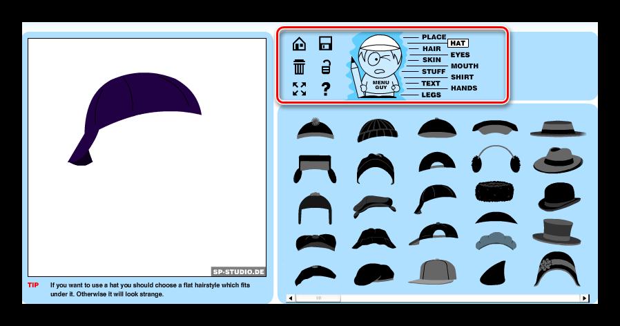 Интерфейс для настройки элементов аватара в SP-Studio