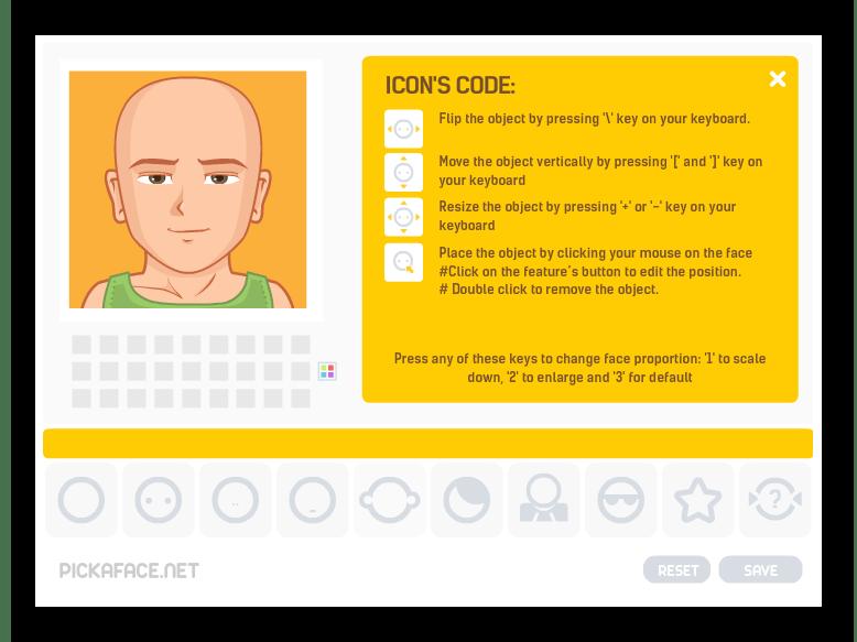 Интерфейс онлайн-генератора рисованных аватаров Pickaface