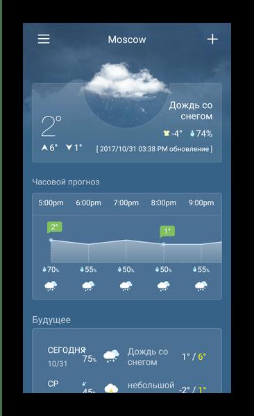 Интерфейс приложения в Weather