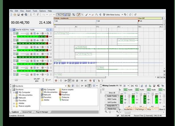 Интерфейс программы Sony Acid Pro