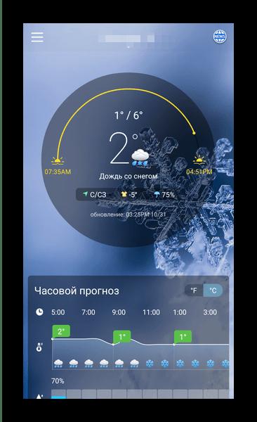 Красивый круговой интерфейс короткой сводки в Weather Forecast