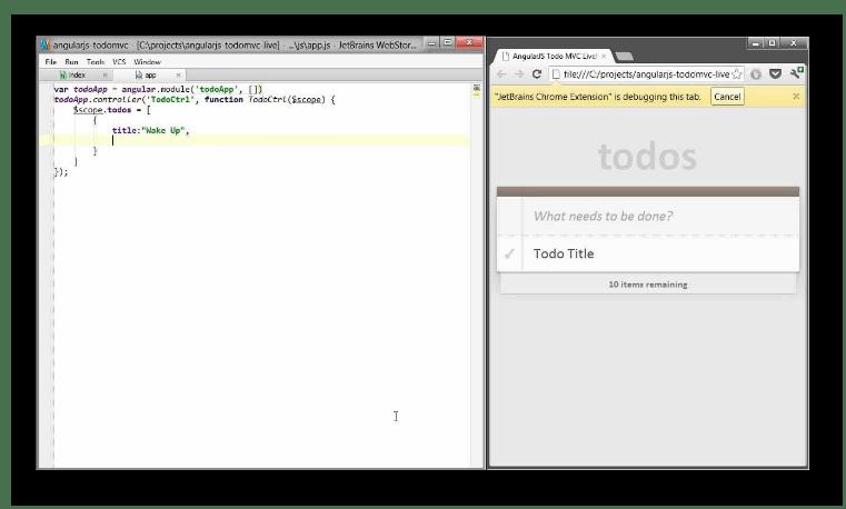 Live Edit в браузере выполненный из среды разработки WebStorm