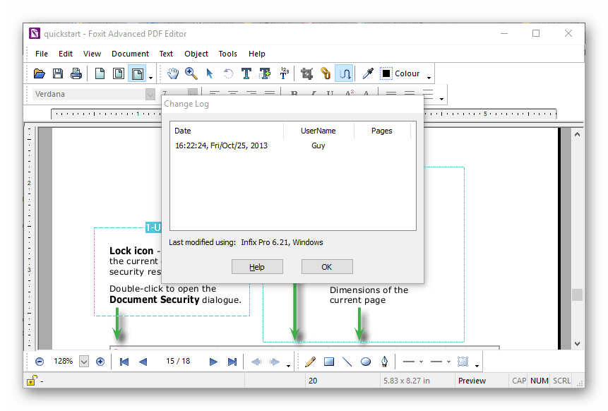 Лог изменений в Foxit Advanced PDF Editor