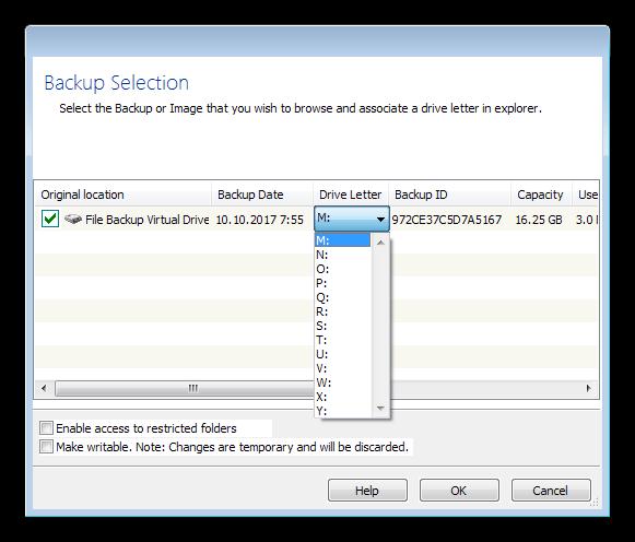 Монтирование резевной копии как виртуального диска в программе Macrium Reflect